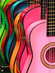 Photo about Colorful guitars at the Olivera Street market in downtown Los Angeles. Image of rainbow, sunny, strings - 1013012 Taste The Rainbow, Over The Rainbow, Mid Century Art, Guitar Art, World Of Color, Happy Colors, Stock Foto, Rainbow Colors, Rainbow Stuff