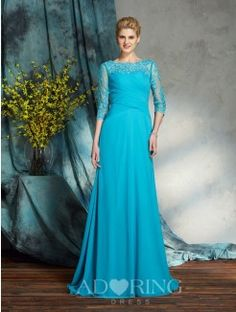 A-Line Bateau 3/4 Sleeves Applique Chiffon Floor-Length Mother of the Bride Dresses