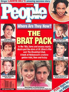 photo | Teen Idols, Where Are They Now?, Ally Sheedy, Andrew McCarthy, Anthony Michael Hall, Demi Moore, Emilio Estevez, Judd Nelson, Laury...