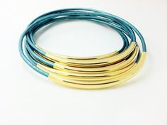 Truly Teal Leather Bangles with Gold or Silver by Leatherwraps, $23.00