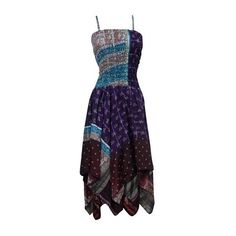 Mogul Interior Women Spaghetti Strap Elastic Bust Boho Floral Print... ($38) ❤ liked on Polyvore featuring dresses, party dresses, evening dresses, holiday cocktail dresses, summer cocktail dresses and midi dress
