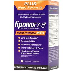 Liporidex PLUS Weight Loss Supplements w/ Green Coffee - All Natural, Doctor Formulated, Appetite Suppressant, Thermogenic Fat Burner, Metabolism Booster Reduced Caffeine Weight Loss Supplement - The easy way to lose weight fast! - 60 diet pills - 1 Box