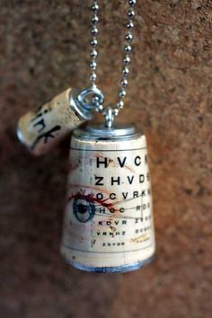 uncorked  Eye Chart Cork Necklace
