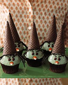 Witch Cupcakes - Happy times with kids call for cheerful cupcakes. Easier to serve than cake, cupcakes require no slicing, no plates, and no forks -- and every child gets her fair share of icing.