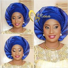 Pretty makeover by @mena_makeover  #gele #blue #traditionalbride #welove