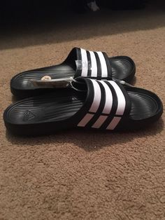 6c95e544c NWT ADIDAS DURAMO G15890 BLACK WHITE SLIDES SANDALS FLIP FLOPS MENS SIZE 12   fashion