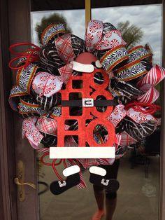 Ho Ho Ho deco mesh Christmas wreath on Etsy, $68.00