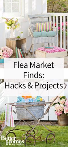 Repurpose your flea market finds with these awesome DIY projects. Use a crate for extra storage or a foot stool, create an end table from unexpected objects, use vintage jewelry to make beautifully unique wall art, create a salvaged headboard, and more! Find out these cool and creative projects you can complete with old-fashioned finds.