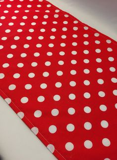 Red and White Polka Dot Table Runner: Accent Table Mat or Runner Ideal for a Carnival or Circus Party