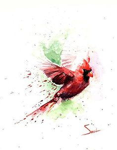 Flying Cardinal Bird Watercolor Print
