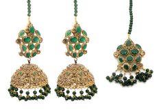 bce741dd6 Indian Asian Pakistani Tikka & Jhumki Earrings Antique Gold Green Jewellery  Jewelry Set Jhumki Earrings,. Glimour Jewellery