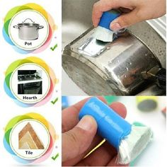 Magic Stainless Steel Kitchen Metal Rust Remover Cleaning Detergent Stick Wash Brush Pot Kitchen Cooking Cleaning Tools