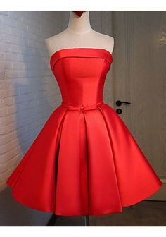 2016 New A Line Satin Prom Dress Bridesmaid Dress Red Short Cocktail Dress Strapless Party Dresses Lace-Up Back Graduation Gown Short Red Prom Dresses, Strapless Homecoming Dresses, Hoco Dresses, Short Bridesmaid Dresses, Prom Party Dresses, Ball Dresses, Pretty Dresses, Sexy Dresses, Formal Dresses