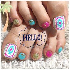 すずかネイル♡頑張ったー! #summernail#footnail#resort#nails Toe Nail Art, Toe Nails, Pretty Pedicures, Pretty Toes, Claws, Turquoise, Instagram Posts, Summer, Feet Nails
