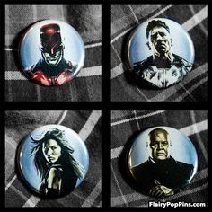 "Daredevil Hell's Kitchen 4 Pack 1.25"" Pin back buttons"