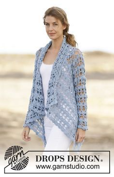 "Spring Bliss - Crochet DROPS jacket with lace pattern in ""Paris"". Size: S - XXXL. - Free pattern by DROPS Design. Gilet Crochet, Crochet Coat, Crochet Jacket, Crochet Cardigan, Crochet Scarves, Crochet Clothes, Crochet Sweaters, Lace Jacket, Knit Cowl"