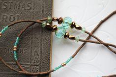 Aqua Glass Eyeglass Chain, Aqua Copper Czech Eyeglass Necklace, Aqua Glass Lanyard, Artisan Lanyard, Artisan Eyeglass Chain, Gift for Her