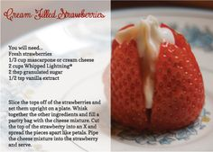 Try a new dessert this week featuring Whipped Lightning - Cream-Filled Strawberries!