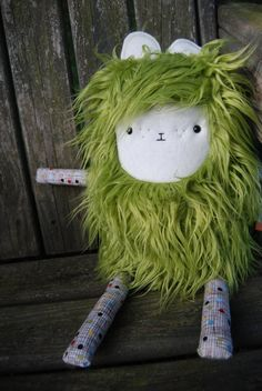 Plush Green Monster Lovable - Owen - Merry Monster. $30.00, via Etsy.