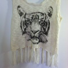 White see through tiger face tank Front has tiger. Tassels hanging. Back is very see through. Comfy and cute. No trades. All clothes washed before shipped. Make offer BONGO Tops Tank Tops