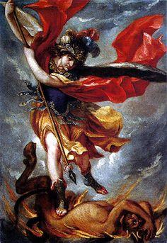 """Archangel Michael  Szent Mihály arkangyal, védelmezz minket a küzdelemben; a sátán gonosz kísértései ellen légy oltalmunk! Esedezve kérjük: """"Parancsoljon neki az Isten!"""" Te pedig, mennyei seregek vezére, a sátánt és a többi gonosz szellemet, akik a lelkek vesztére körüljárnak a világban, Isten erejével taszítsd vissza a kárhozat helyére! Amen."""
