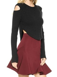 Stylish Whorl Design Cambered Hem Hollow Out Shoulder O-Neck Women Pullover Black  on buytrends.com