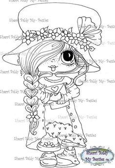 Winter Digital Stamp Big Eyed Girl Illustration By