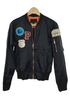 madison patch bomber jacket (black)