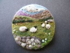 Hand Made Needle Felted Brooch/Gift   The Upland Meadow   by Tracey Dunn