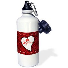 3dRose Red Cheetah Print with Cupid Shooting His Arrow, Sports Water Bottle, 21oz