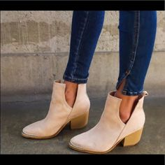 e9ed40a75c8a These vegan suede ankle boots have a metal tipped toe with a block heel and  side cutouts that make these super on trend and eas