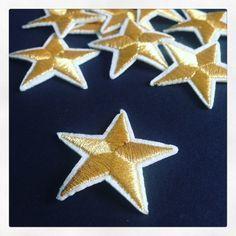 #Star gold color stylo embroidered iron #parche para por #YBatchi #patches