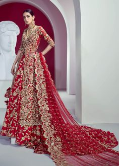 Product Description: Perfect shade of red with gold floral work is enhanced with corra and dabka work. The sequins works make it a perfect shiny ensemble to shine on big day. Pakistani Bridal Couture, Pakistani Wedding Dresses, Indian Wedding Outfits, Indian Bridal, Indian Dresses, Indian Outfits, New Bridal Dresses, Desi Wedding Dresses, Asian Wedding Dress