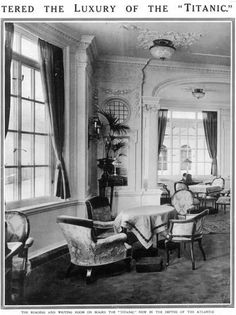 The Reading and Writing Room for first class women on board Titanic. Photo by Titanic Images / Universal Images Group / Snapper media Rms Titanic, Titanic Deaths, Titanic Photos, Titanic Ship, Titanic Wreck, Titanic Survivors, Belfast, Titanic Poster, Titanic Artifacts
