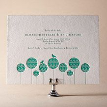 Modern Garden Letterpress Invitation Design Small