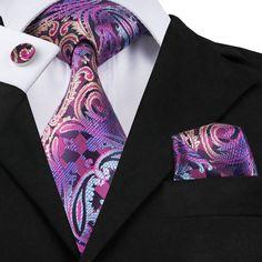 Newest Mens Silk Necktie Jacquard Blue&Purple Paisley Tie Pocket Square Cufflinks Pocket Square Styles, Tie And Pocket Square, Pocket Squares, Magenta, Purple, Aqua, Paisley Tie, Paisley Color, Cufflink Set