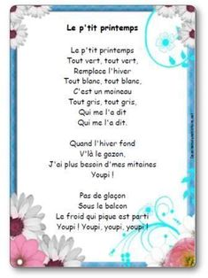Teaching 498140408765233035 - Comptine Le p'tit printemps Source by pgnanou Core French, French Class, French Lessons, Preschool Music Activities, Spring Activities, French Teacher, Teaching French, French Poems, French Kids