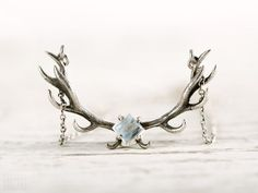 Deer Antler Necklace Moonstone and Sterling Silver Charm Horns Boho Jewelry - FPE017 SS