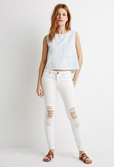 Jeans Skinny Life In Progress Rotos | Forever 21 Contemporary - 2000115102