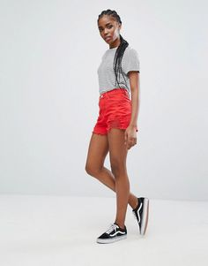 New Look Extreme Ripped Denim Shorts - Red