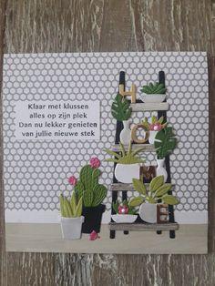 Gemaakt door Diana; kaartje met stanzen Marianne Design: Cactussen en Marleen's Greenery en trapje. Marianne Design Cards, New Home Cards, Spellbinders Cards, Punch Art, Scrapbooking, Diy Cards, Cactus Plants, Flower Pots, Cardmaking