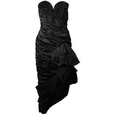 Preowned Vicky Tiel Black Silk Gown With Gathers And A Large Bow Size... ($1,495) ❤ liked on Polyvore featuring dresses, gowns, black, silk dress, silk evening gowns, preowned evening gowns, vicky tiel dresses and shirred dress