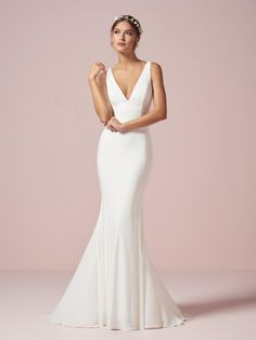 Christina Wu 22960 Deep V Neck Informal Wedding Dress