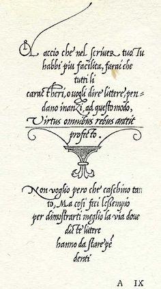 Muestra de la caligrafía de Ludovico Vicentino en La Operina, editada en 1522.