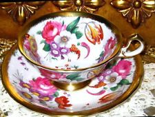 GOLD GILDED PINK ROSE FLORAL CHINTZ ROYAL CHELSEA BONE CHINA TEA CUP AND SAUCER
