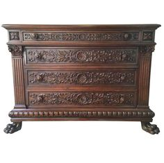 View this item and discover similar for sale at - We proudly offer this century Italian extremely well hand-carved walnut wood dresser with four drawers and carved fluted columns on sides resting Italian Furniture, Classic Furniture, Furniture Styles, Cheap Furniture, Furniture Making, Antique Furniture, Wood Furniture, Furniture Price, Traditional Furniture
