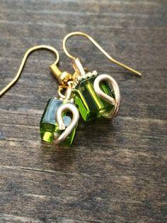 Peridot cube earrings