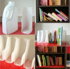 28 Super Ingenious Methods to Reuse Old Bottles in DIY Crafts homesthetics decor ~ How to DIY Book Organizer from Recycled Plastic Bottles + other ideas for reuse DIY Book Projects Upcycle - Top 17 Of The Most Insanely Genius Tutorials For Reusing Plastic Reuse Plastic Bottles, Plastic Bottle Crafts, Plastic Recycling, Old Bottles, Recycled Bottles, Plastic Jugs, Diy Bottle, How To Recycle Plastic, Diy Projects Plastic Bottles