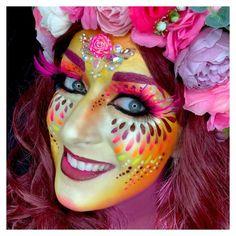 Painted by sôkkertantes Joker Makeup, Alien Makeup, Unicorn Makeup, Skull Makeup, Mermaid Makeup, Creative Eyeliner, Adult Face Painting, Fantasy Make Up, Rave Makeup
