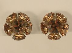 Golden Amber Colored and Silver Colored Metal Large Rhinestone Round Clip Ons #Unmarked #Huggie
